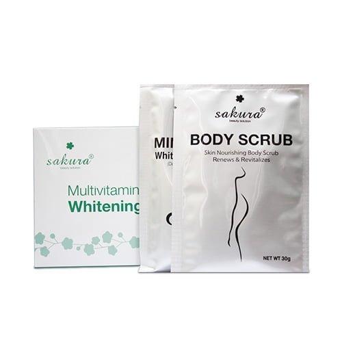 Bộ kem tắm trắng Sakura Multivitamin & Herbals Whitening System