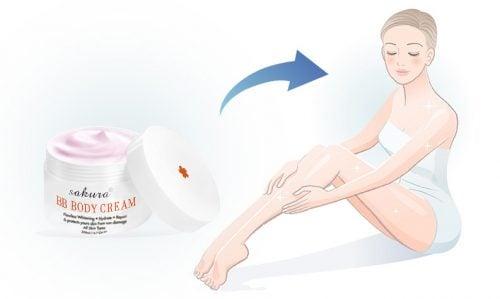 Kem dưỡng trắng da trang điểm toàn thân Sakura BB Body Cream 2
