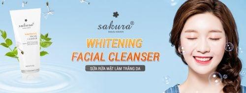 Sữa rửa mặt làm trắng da Sakura Whitening Facial Cleanser 1