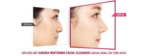 Sữa rửa mặt làm trắng da Sakura Whitening Facial Cleanser 3
