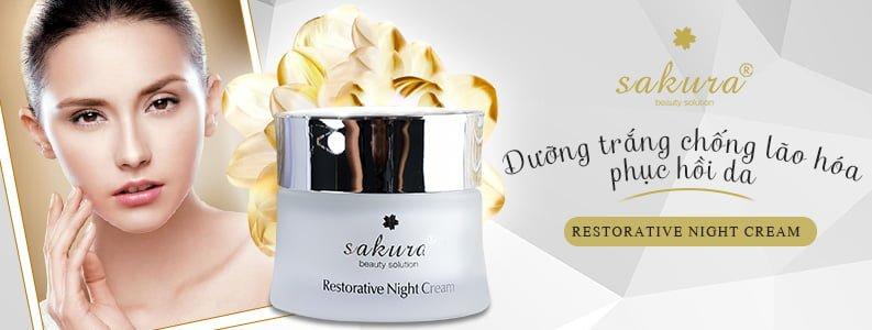 Kem dưỡng trắng phục hồi da ban đêm Sakura Restorative