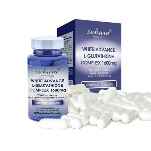 Viên uống làm trắng da Sakura White Advance L-Glutathione Complex 1600mg 02