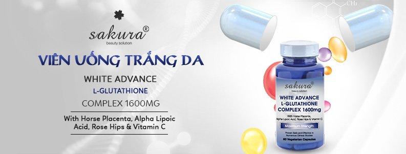 Viên uống làm trắng da Sakura White Advance L-Glutathione Complex 1600mg 1