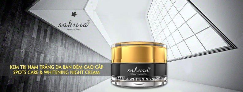Kem trị nám trắng da cao cấp ban đêm Sakura Spots Care & Whitening Night Cream