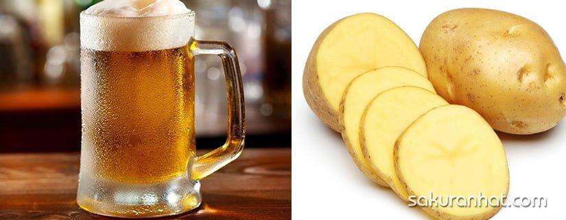 Dưỡng trắng da bằng bia và khoai tây