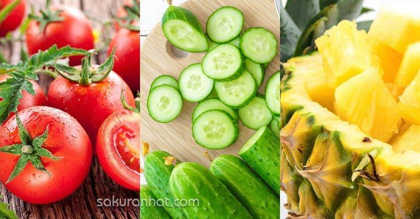 1. Sinh tố cà chua, dưa chuột, dứa