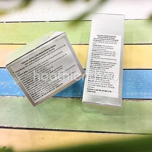 Bộ đôi sản phẩm trắng sáng da ngừa nám Sakura 6