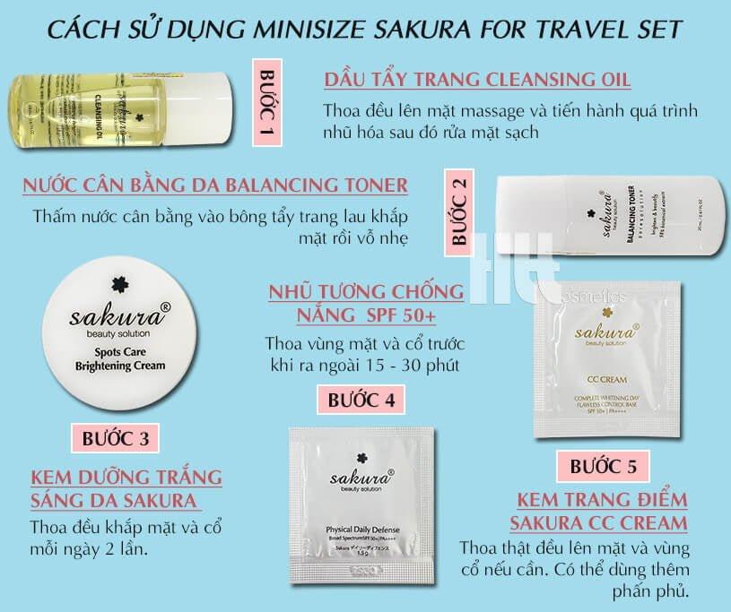 Cách sử dụng Bộ kit dưỡng trắng da trang điểm Sakura Nhật Bản